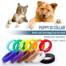 China 12 colors reusable nylon pet ID collar band back to back hook and loop puppy ID tape factory
