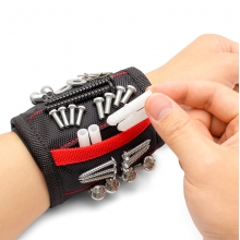 China Custom Printed Logo Bolts Kits Hand Electricians Holds Nails Kit Hook Wrist 5 Row Tool Magnetic Wristband Screws Holder company